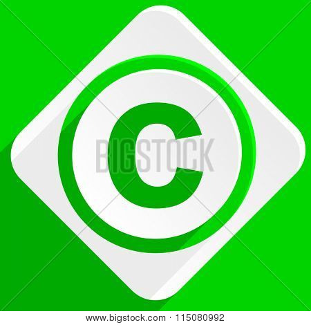 copyright green flat icon