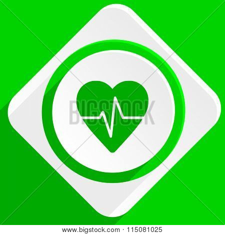 pulse green flat icon