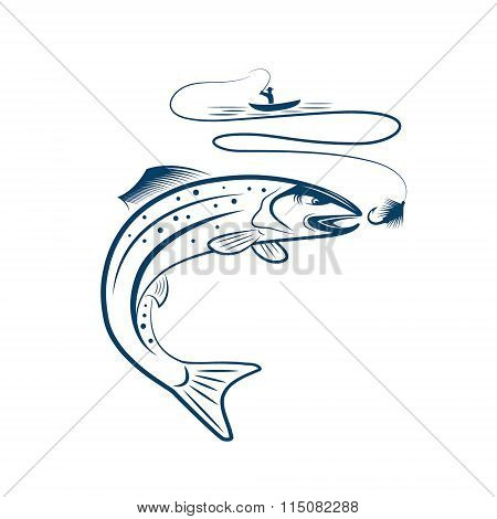 Illustration Of Fisherman In A Boat And Trout