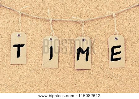 Vintage Grunge Tags With Word Time