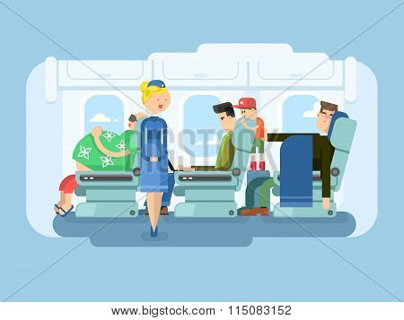 Interior of plane flat design