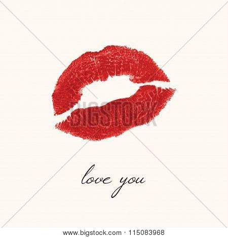 Imprint Of Lips On A White Background - A Kiss, Red Lipstick