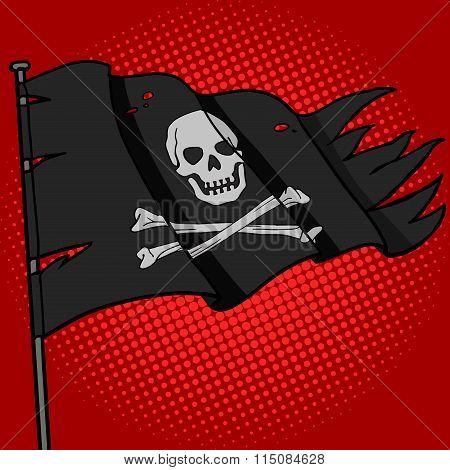 Pirate flag pop art style vector
