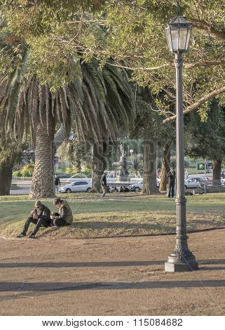 People At Park In Montevideo Uruguay