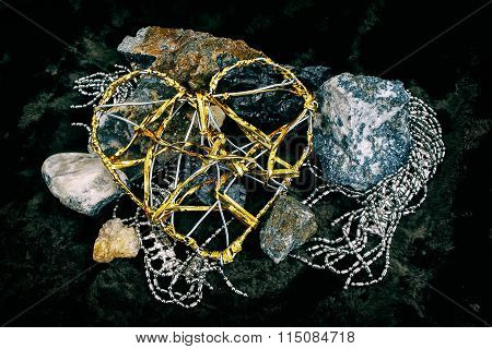 Metal grunge heart and stones #1