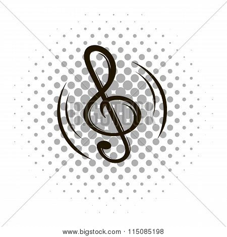 Music note sign comics icon