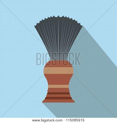 Shaving brush flat icon with shadow