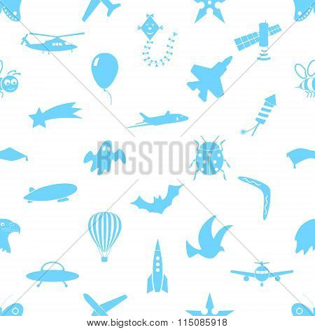 Flying Theme Theme Symbols And Icons Seamless Pattern Eps10