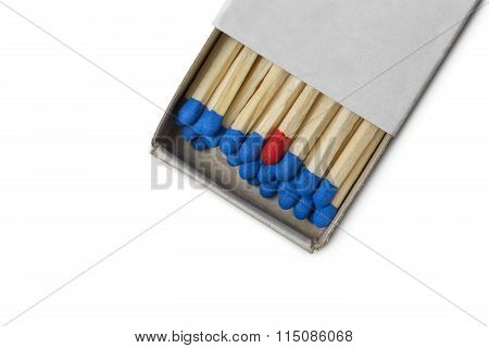 Matchbox With Blue And One Red Matches