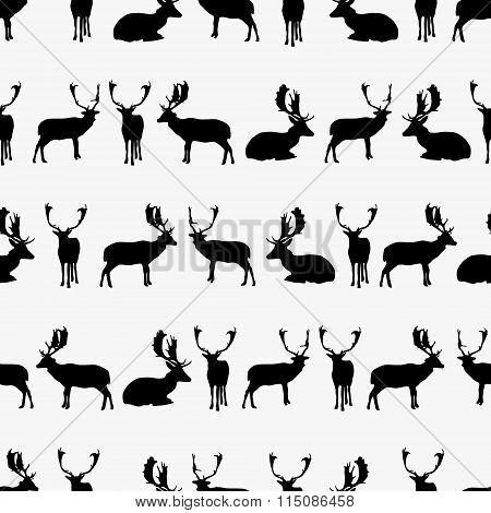 Fallow Deer Black Silhouette Seamless Pattern Eps10