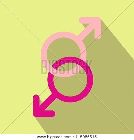 Sign of two men flat icon
