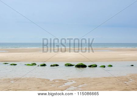 Zen Picture Of A Beach With Aligned Rocks Near Calais, Pas-de-calais, France