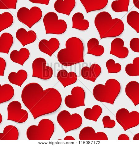 Red Valentine Hearths Symbol Seamless Pattern Eps10
