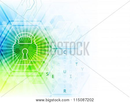 Technological abstract vector background with lock, circuit board and hexagon pattern.