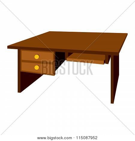 Wooden office desk cartoon icon
