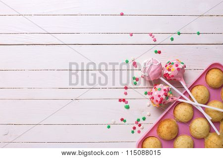 Making Cake Pops On White Wooden Background.