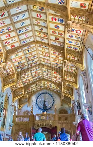Interior Of  Royal Palace In Medieval Windsor Castle. Uk