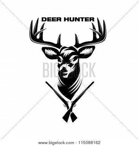 Illustration Of Deer Head And Shotguns