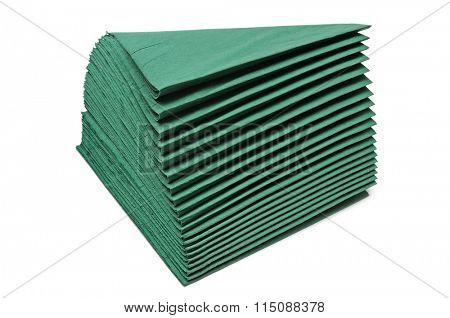 green napkins isolated on white