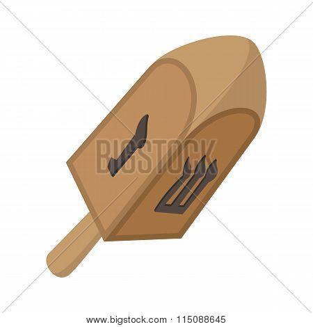 A wooden dreidel cartoon icon