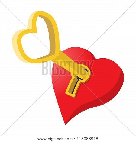 Heart-shaped padlock with key cartoon icon