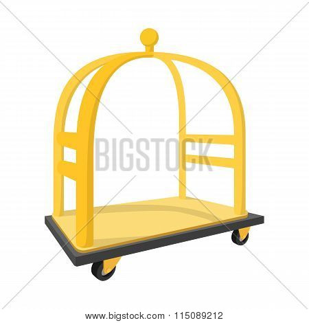 Luggage trolley cartoon icon