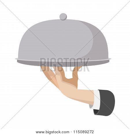 Restaurant cloche cartoon icon