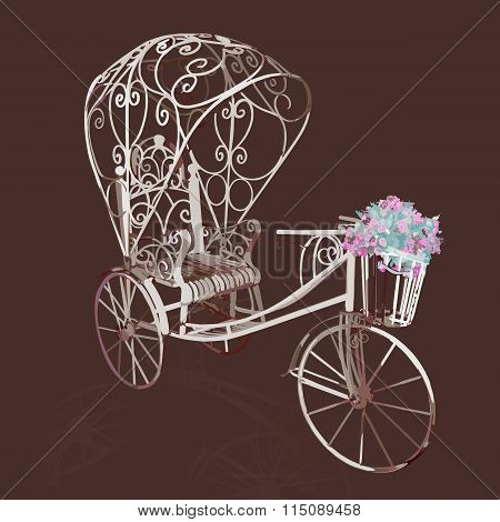elegance retro white tricycle with flowers