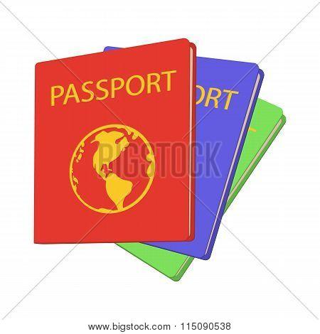 Three passports cartoon icon