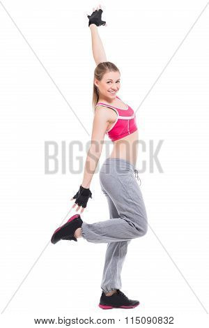 Smiling Sporty Blond Woman