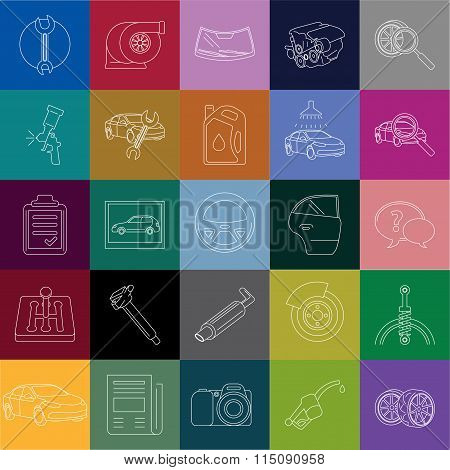car service linear icons tiles colorful background
