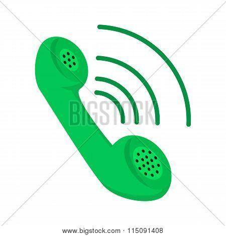 Green telephone receiver cartoon icon