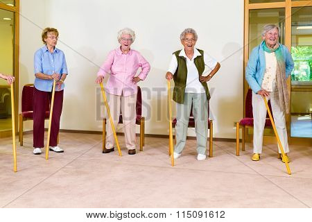Four Elderly Females Exercising With Canes
