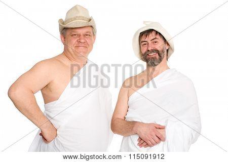 Joyful men in bathing costumes. From a series of Russian bath.