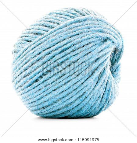 Blue Fiber Skein, Sewing Thread Ball Isolated On White Background