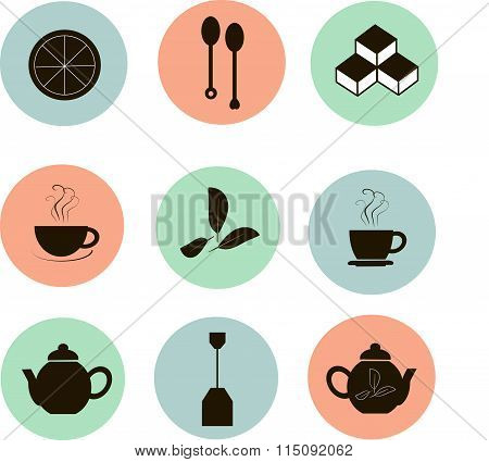 Tea icons, black marks on the red, blue, green, white background, flat icons. Bright pastel cool col