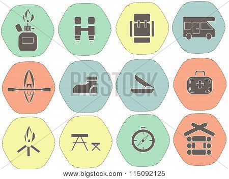 Camping flat hexagonal icons. Red, green, blue, yellow background, bright pastel cool colors. Black