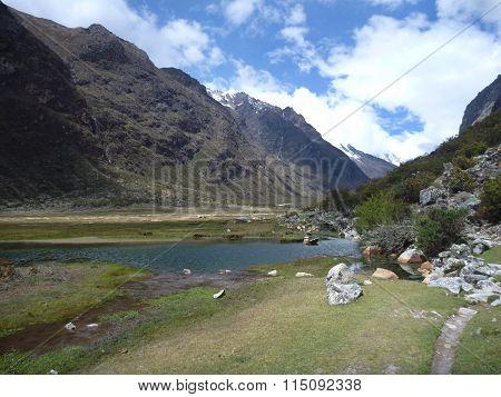 Lake At The Santa Cruz Trekking In Cordillera Blanca