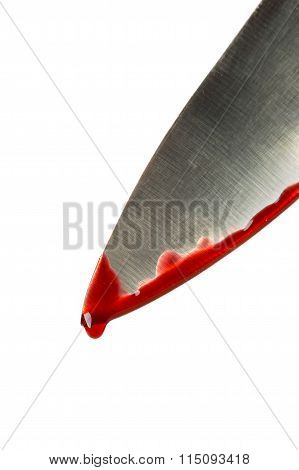 Kitchen knife dripping blood