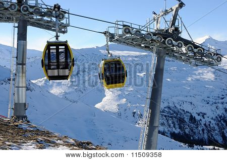Yellow Cabins With Cableway