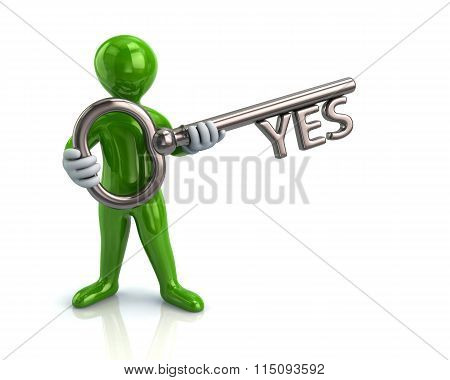 Green Man And Silver Key With Yes