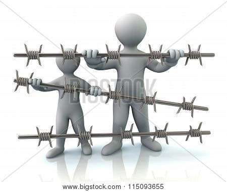 Refugee And Barbed Wire