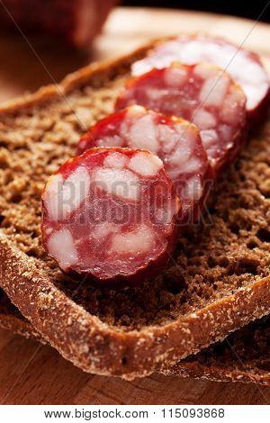 Rye Bread Sandwich With Sausage