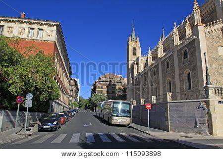 Madrid, Spain - August 23, 2012: Calle Academia (academia Street) Near San Jeronimo El Real Church I
