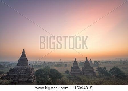 Sunrise At Bagan At The Buledi Pagoda, Bagan, Myanmar.