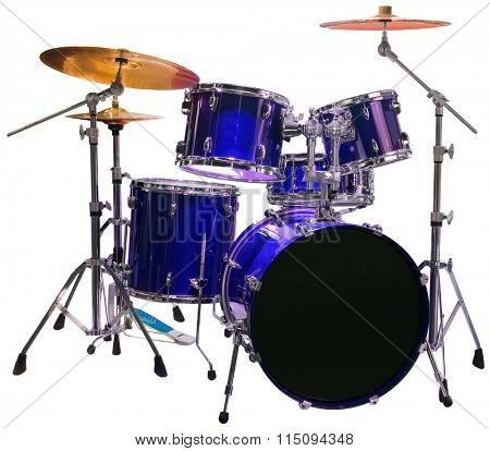 Set of Blue Battery Drumset Isolated with Clipping Path