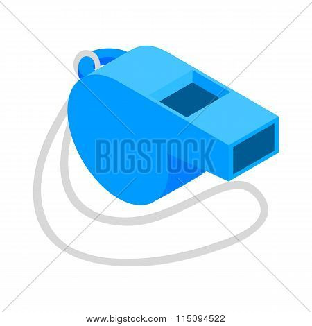 Blue sport whistle on a white cord isometric icon