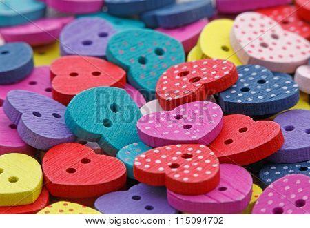 Wooden Heart Shaped Buttons