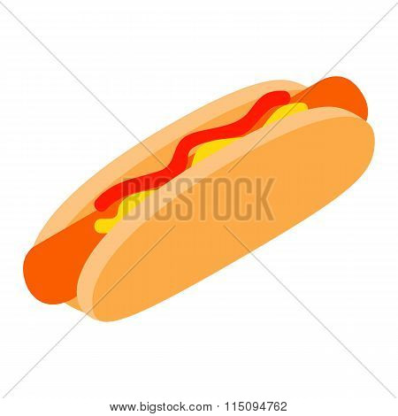 Hotdog with mustard and ketchup isometric 3d icon