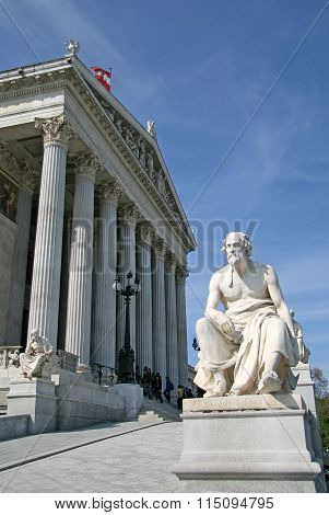 Vienna, Austria - April 22, 2010: Greek Philosopher Statue At Austrian Parliament Building